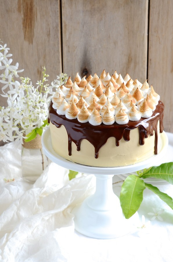 S'mores chocolate cake with mascarpone caramel frosting
