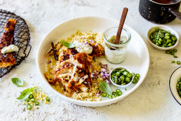 Harissa-spiced fish with couscous and asparagus salsa verde