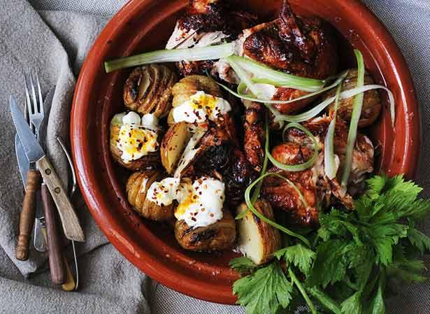 Smoky sriracha barbecue chicken