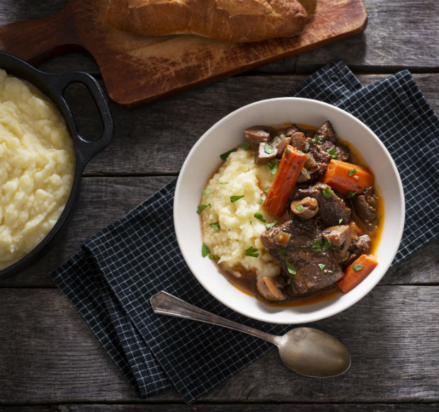 stew with mashed potato
