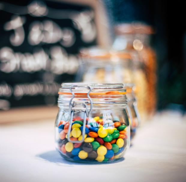 smarties in glass jar