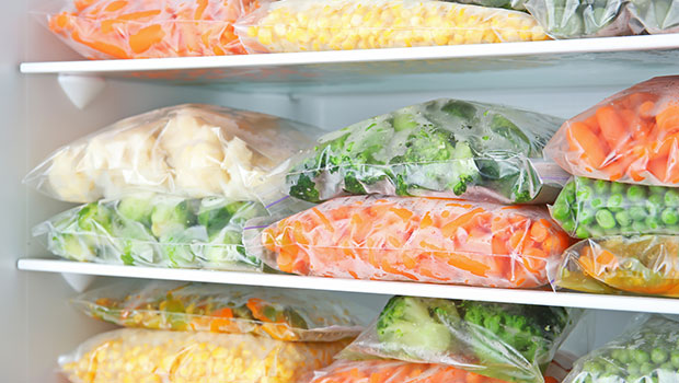 frozen vegetables in freezer