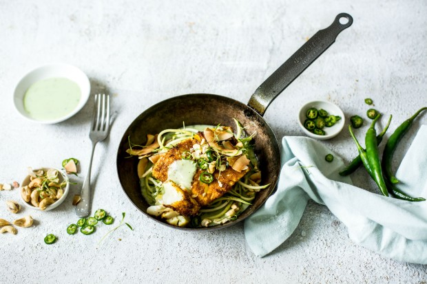 curry spiced fish on courgette noodles