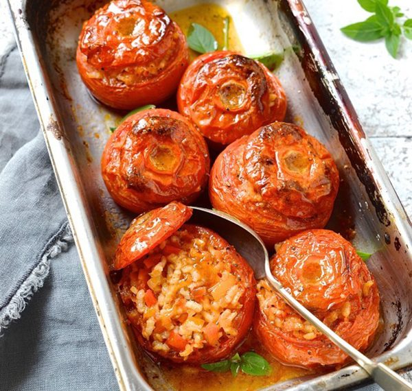 Saffron risotto stuffed tomato
