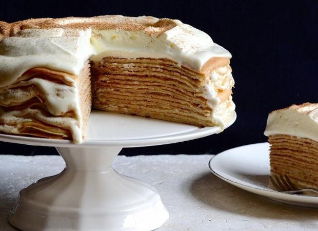 Milk tart pancake stack