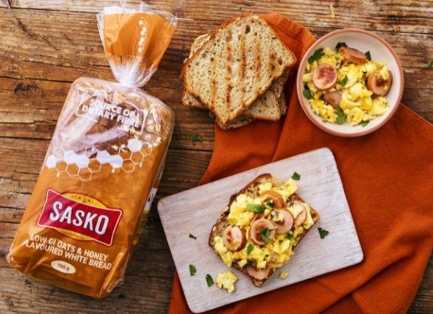 Cheesy sausage egg scramble on toast