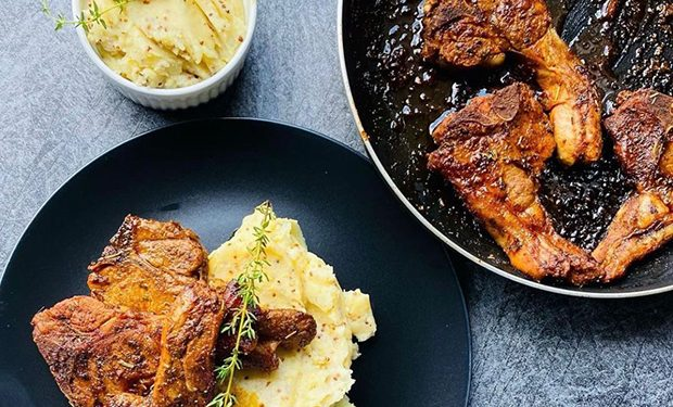 Pineapple and ginger lamb chops