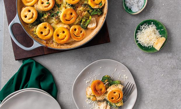 creamy chicken bake with McCain Smiles