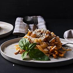 Lamb pesto pasta