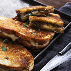 Pulled lamb, jalapeño and cheese toastie