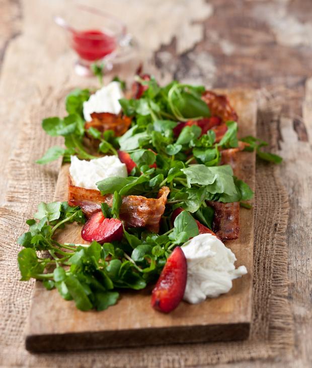 pancetta and plum salad